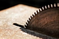 A close-up picture of a rusty circular saw in an old sawmill