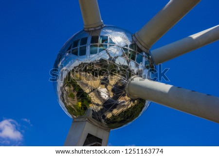 """A close-up picture of one of the """"atoms"""" of the Atomium (Brussels)."""