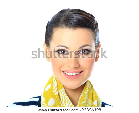 A close-up portrait of a beautiful woman with a yellow scarf. Isolated on a white background.