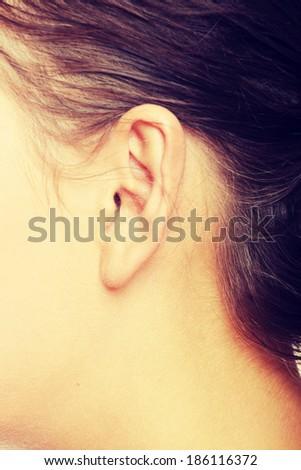 A close-up portrait of a female ear