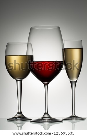 A close-up portrait of red and white wine on a vector image