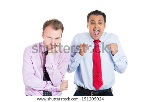 A close-up portrait of two guys, an excited, optimistic one and a bored, annoyed one, standing next to each other, isolated on white background . Human emotion spectrum. Bipolar disorder concept.