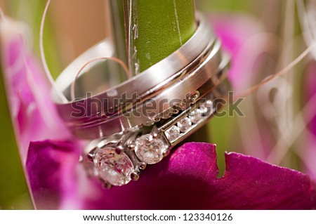 A close-up shot of a beautiful wedding ring