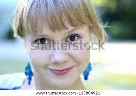 A close-up shot of a beautiful young girl.