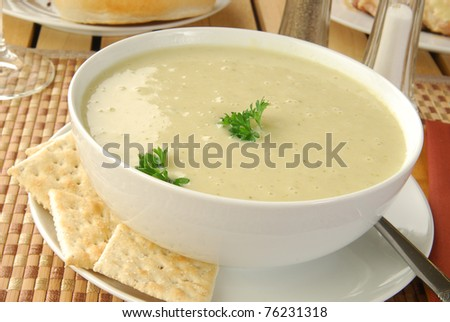 A close-up shot of a bowl of hearty cream of broccoli soup