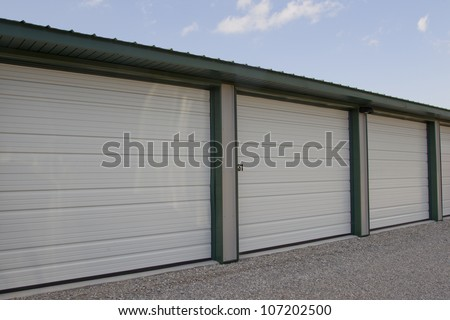 A close up shot of a mini storage or warehouse unit that are rented by the month.