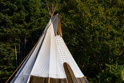 A close up shot of a tall white tipi, or teepee, native tent in a forest clearing during an earth festival celebrating traditional culture and nature