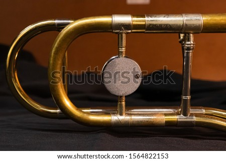 A close up shot of a vintage 1970s tenor trombone