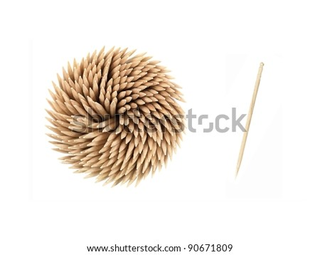 A close up shot of a wooden toothpicks on white - stock photo