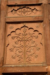 A Close up shot of bas relief etching on wall at Red Fort in Delhi, India, Asia