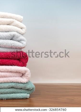A close up shot of bath towels