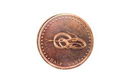 A close up view of a Half Penny Coin from Tristan Da Cunha
