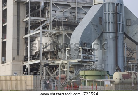A close view of power plant machinery.