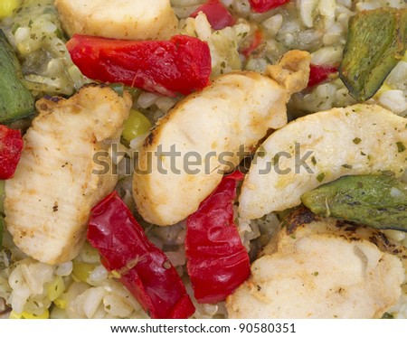 A close view of small pieces of chicken with vegetables.