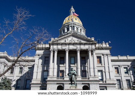 A close view of the front of the Colorado State Capitol.