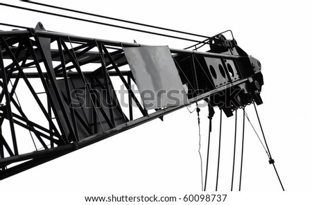 A close view of the top end of a crane