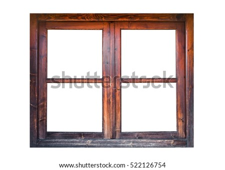 A closed wooden window isolated on white background #522126754