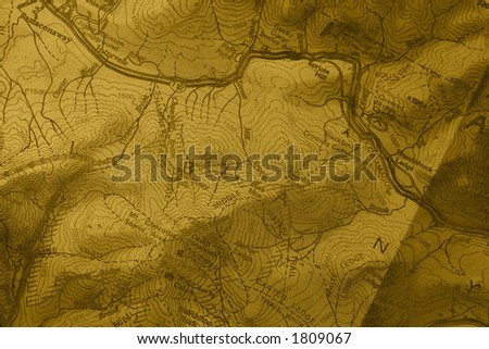 A closeup detailed  topographic trail map