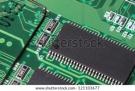 A closeup of a computer circuit board