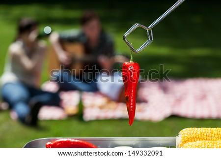A closeup of a red grilled chilli pepper