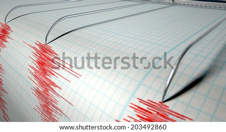 A closeup of a seismograph machine needle drawing a red line on graph paper depicting seismic and earthquake activity on an isolated white background