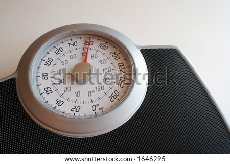 A closeup of a weight scale.