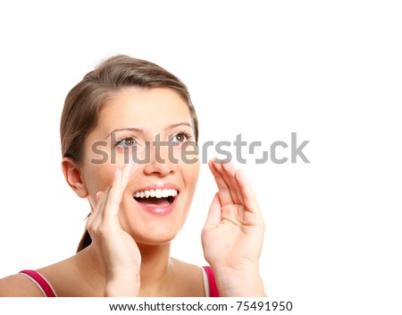 A closeup of a young girl shouting out over white background