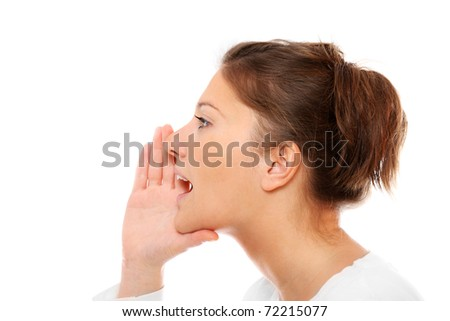 A closeup of a young girl whispering over white background