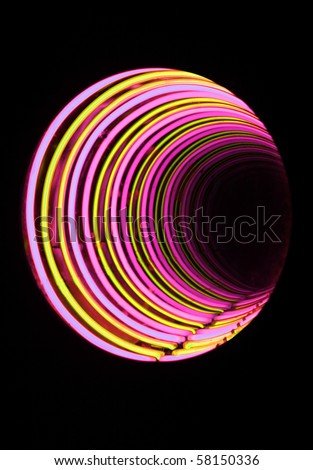 a closeup of abstract neon tube light tunnel