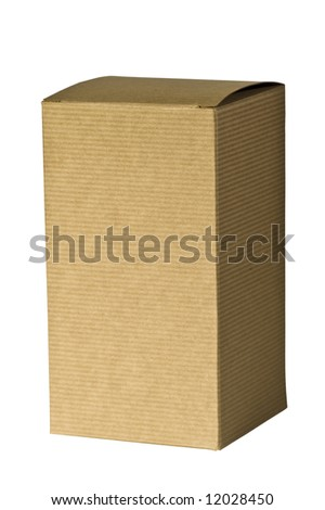 A closeup of an isolated, plain, brown corrugated cardboard gift box.
