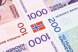 A closeup of Norwegian currency bank notes.