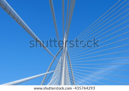 A closeup of Sri Warisan bridge at morning in Putrajaya, Malaysia #435764293