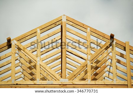 A closeup of the gable on a stick built home under construction.