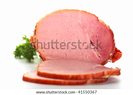 A closeup picture of ham with two  slices.