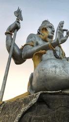A closeup picture of the lord shiva's statue at murudeshwar in karnataka.