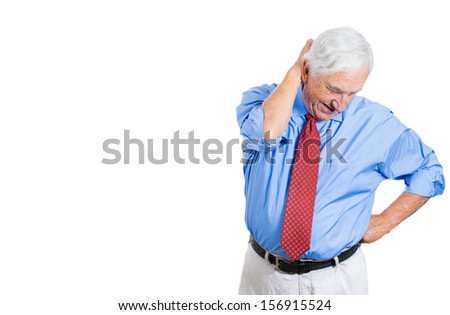 A closeup portrait of an elderly sad man troubled with bad news or trying to remember, recall some information, isolated on a white background with copy space. Geriatrics, memory loss, health issues.