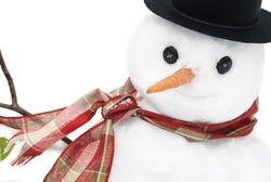A closeup shot of a cute little snowman with a smiling face, selective focus on face, copy space