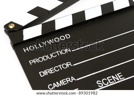 A closeup shot of a hollywood clapboard for film production.