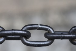 A closeup shot of a metallic chain on a blurred background