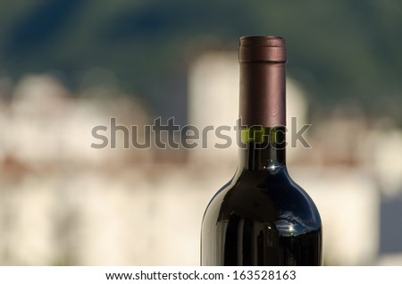A closeup shot of a red wine bottle neck with sunny and blurry background