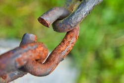 A closeup shot of a rusty metal chain on a blurred background