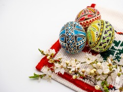 A closeup shot of beautifully painted easter eggs