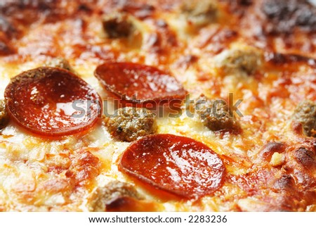 A closeup shot of delicious pepperoni pizza