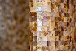 A closeup shot of mother pearl mosaic tiles