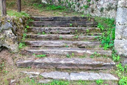 A closeup shot of old concrete staircase detail in Noja in Cantabria Spain