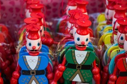 A closeup shot of the colorful funny soldier figurines