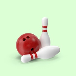 A closeup shot of two bowling pins and a ball on a green background