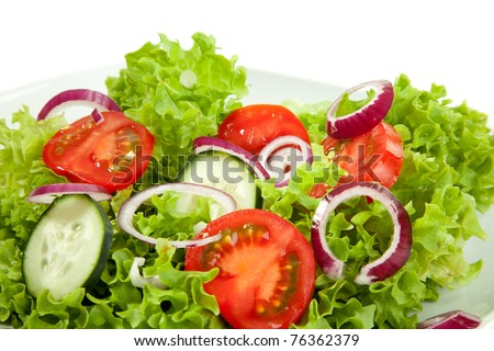 A closeup view from a salad plate.