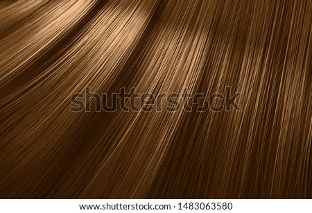 A closeup view of a bunch of shiny straight brown hair in a wavy curved style - 3D render