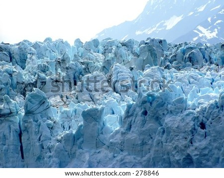 A closeup view of Margerie Glacier in Glacier Bay National Park.
